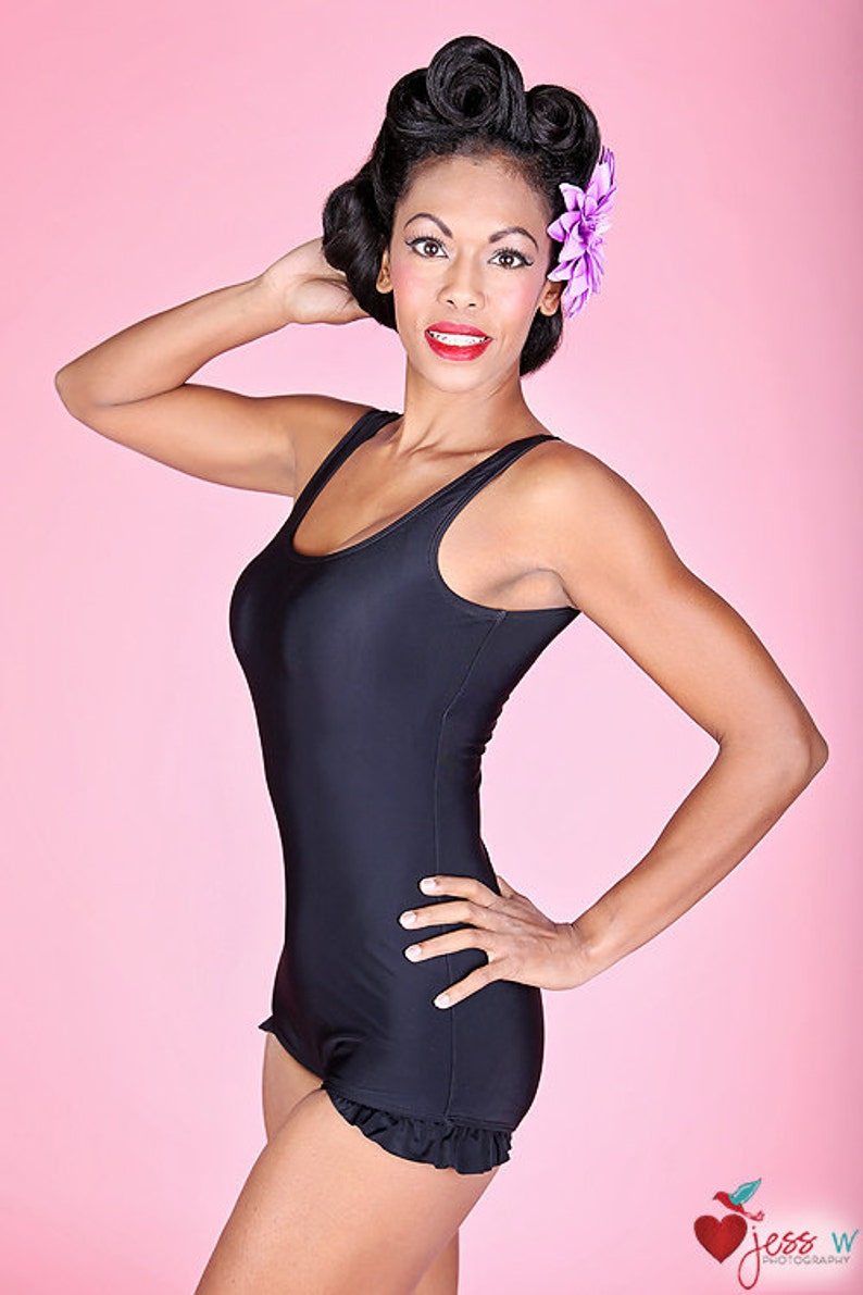 Vintage Bathing Suits | Retro Swimwear | Vintage Swimsuits Classic Black Womens one piece retro pinup swimsuit with ruffle trim $78.00 AT vintagedancer.com