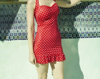 Red and White polka dot ruffle Two Piece swim dress retro pin-up swimsuit Made to order