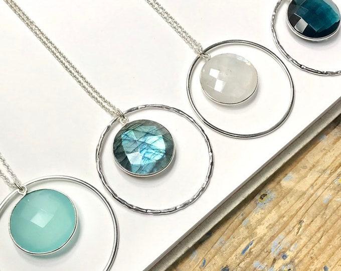 Large Gem Pendant Necklace in Circle - Labradorite, Moonstone, Aqua Chalcedony, Dark Blue Quartz - faceted bezel-set stone - 925 sterling