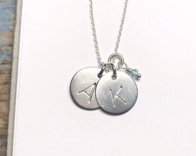 Initial Circle Charm Necklace - Large