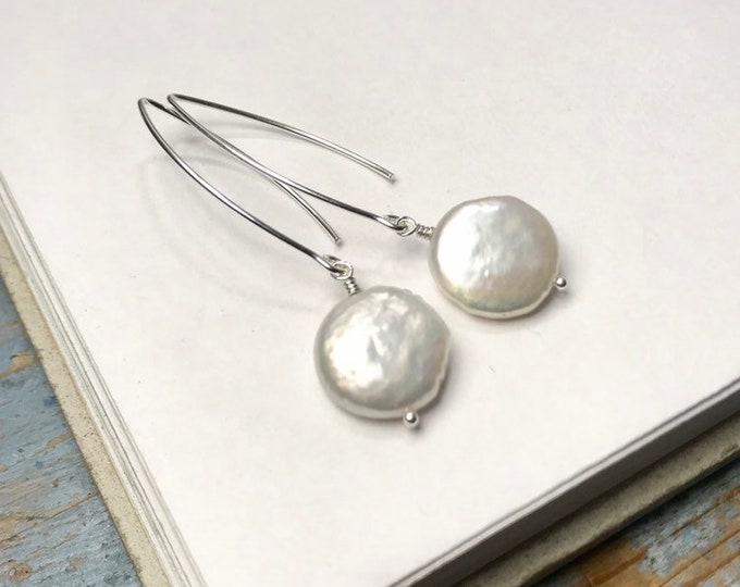 Coin Pearl Long Drop Earrings • white or grey