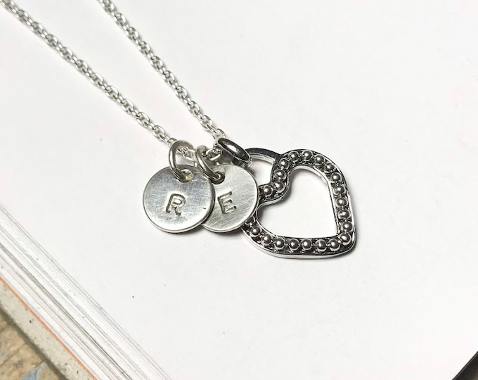 Little Initial & Beaded Heart Necklace
