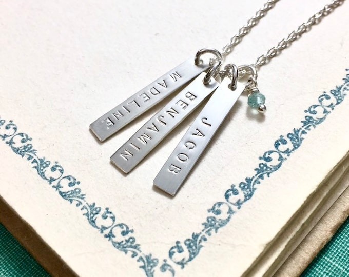 Custom Hand stamped Name Tag Necklace ~ small vertical sterling bars stamped with names, words or dates- choose 1, 2, 3, 4, tags - sterling
