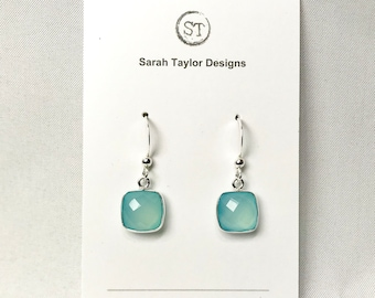 Square  Chalcedony Drop Earrings