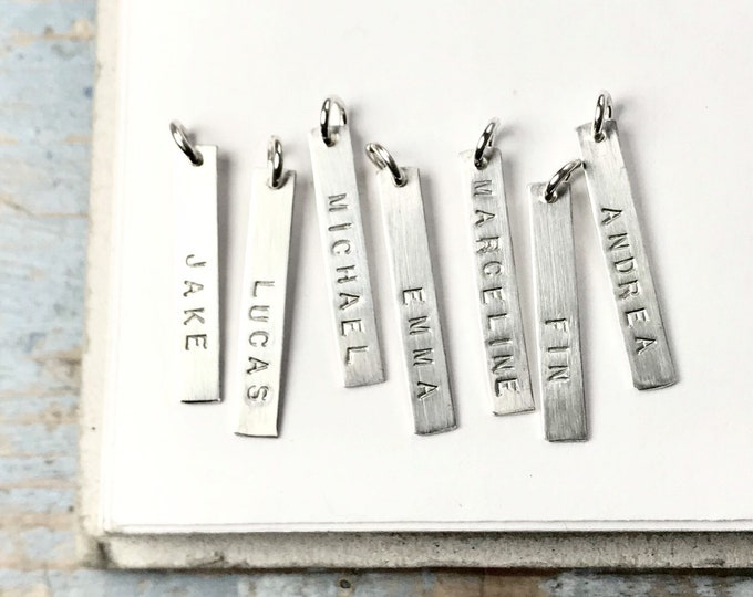 Custom Personalized Hand Stamped Name Tag - customize vertical bar with name, word, date - name plate dog tag