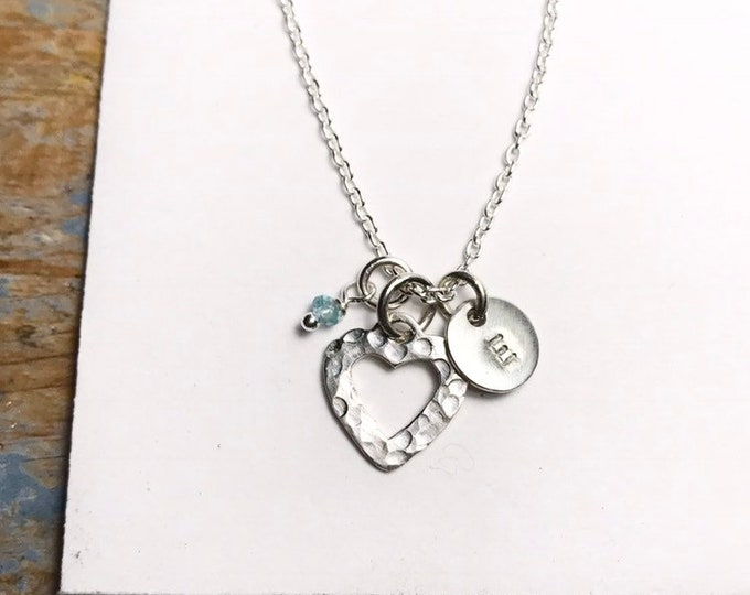 Initial and Open Heart Necklace