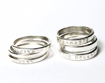 Custom Stamped Skinny Ring ~ 2mm or 3mm widths