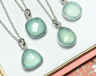 21mmx11mm SS417 4 Pcs Blue Aqua Chalcedony 925 Sterling Vermeil Faceted Pear Double Bail Connector