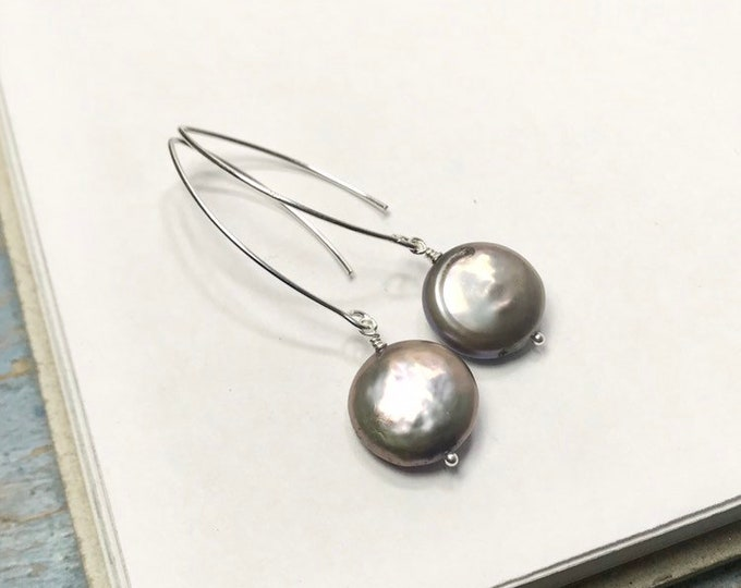 Grey or White Coin Pearl Long Dangle Earrings • round freshwater pearl ear hooks • simple minimalist drops • 925 sterling silver