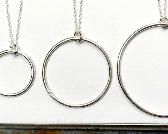 Smooth Open Circle Pendant Necklace