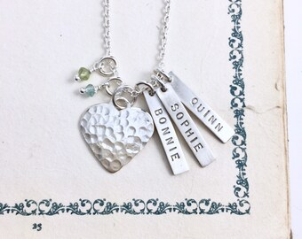 Original Tags & Large Hammered Heart Necklace