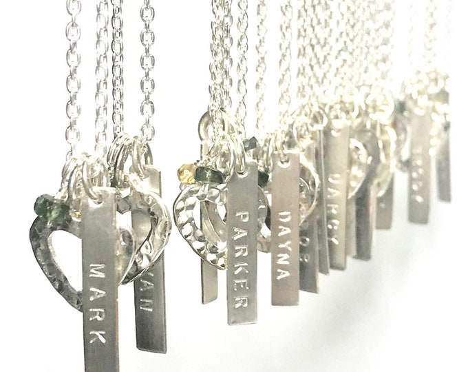 Small Open Heart & Tags Necklace