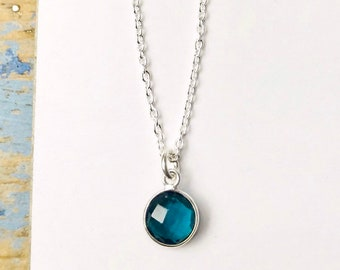 Little Blue Round Gem Necklace