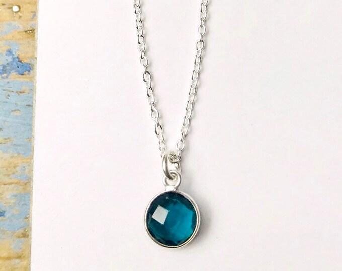 Little Blue Round Gem Necklace