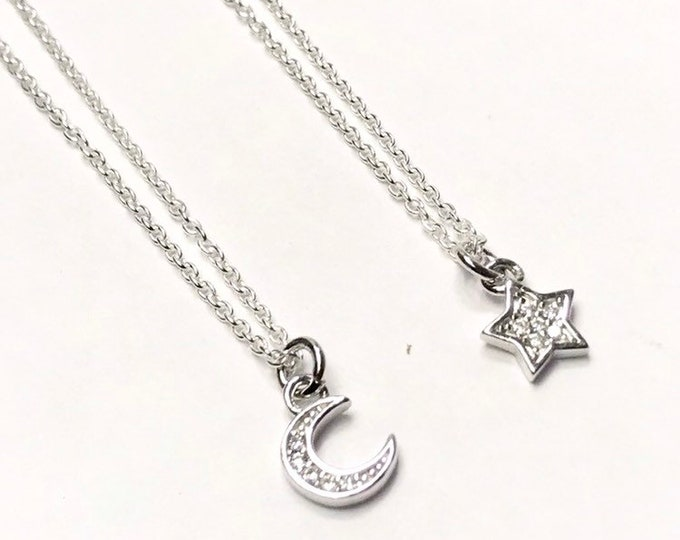 Tiny Star or Moon Charm Necklace - little sparkly celestial symbols jewelry - cubic zirconia inset charms - 925 sterling silver