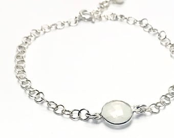 Moonstone Faceted Gem Chain Bracelet • small round bezel-set milky white gemstone • 925 sterling silver • dainty layering bracelet