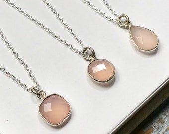 Little Pink Gem Necklace - round, square or teardrop