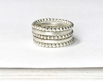 Stacking Rings - Beaded and Smooth