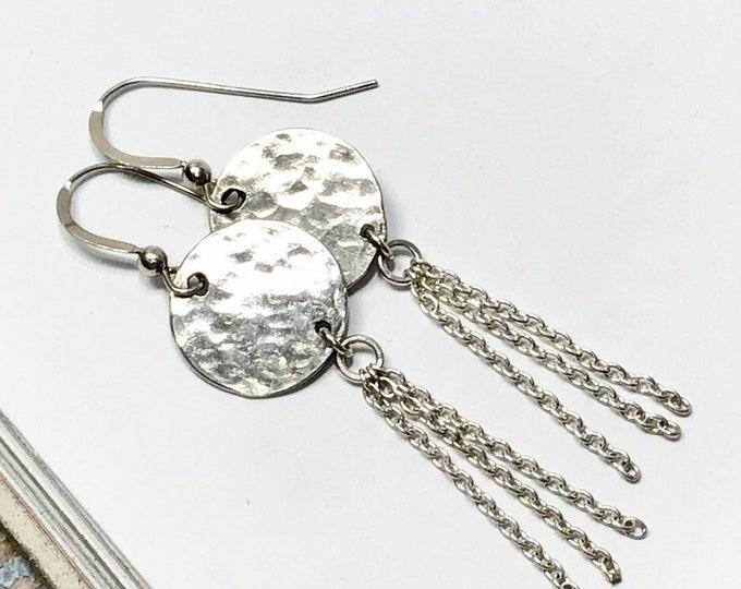 Solid Disc & Tassle Earrings