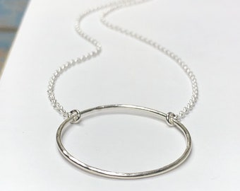 Silver Circle Necklace - centered loop pendant - Circle of Life, Strength, Unity, Family, Eternity, Karma - 925 sterling silver