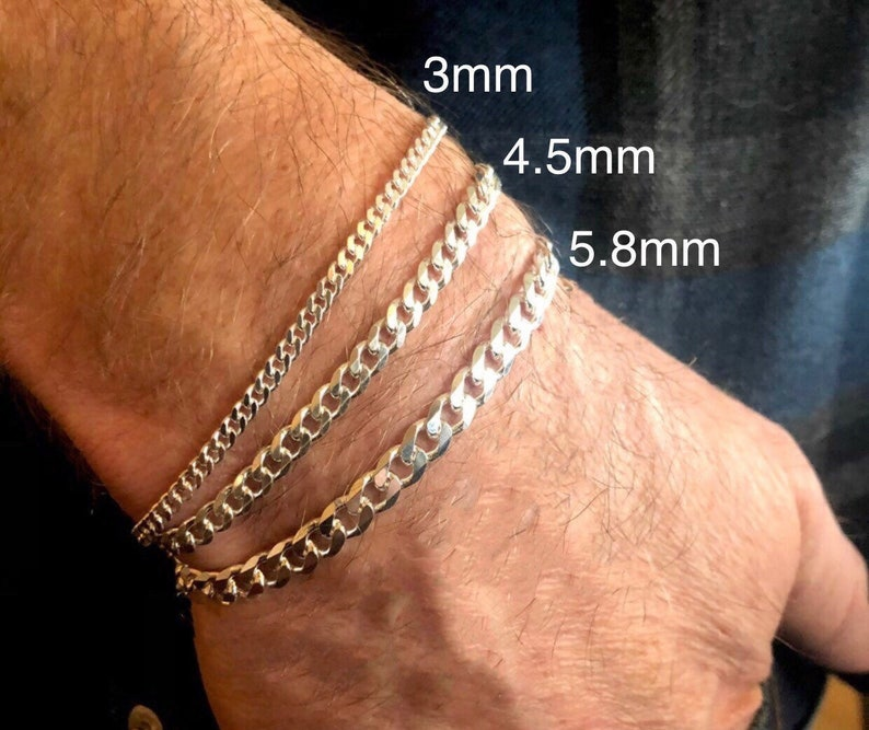 Silver Curb Bracelet  Italian-made chain  3mm 4.5mm 5.8mm image 0