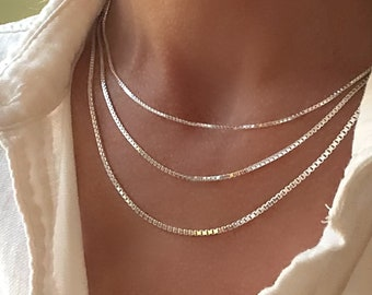 """Silver Box Chain - layering pendant necklace - made Italy- 14"""" - 30"""" lengths - 1.2mm, 1.7mm & 2mm widths - solid 925 sterling"""