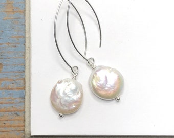 Round Pearl Earrings • long dangle coin pearls - gey or white • simple minimalist drops • 925 sterling silver