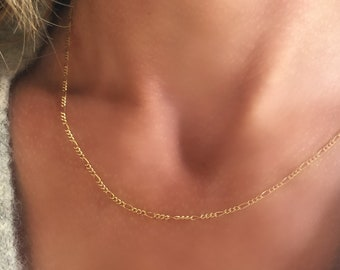 """Gold Figaro Chain - Fine Quality 14K Gold-Filled Italian Necklace - 16"""", 18"""", 20"""" lengths - dainty layering chain"""