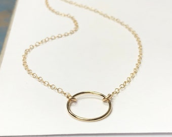 Gold Necklace   dainty layering necklace   gold circle pendant   gift for her