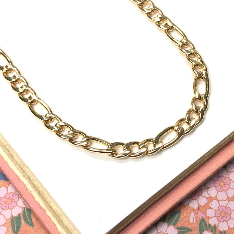 Gold Necklace  womens gold filled layering chain  Figaro image 0