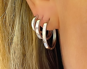 Silver Huggies | sterling hoops | gift for her | snap hinge one-touch closure | 925 sterling silver
