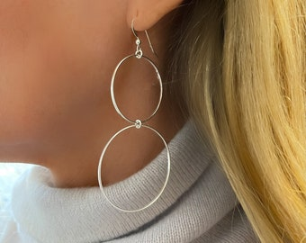 Silver Earrings   large double circle hoops   statement earrings   gift for her