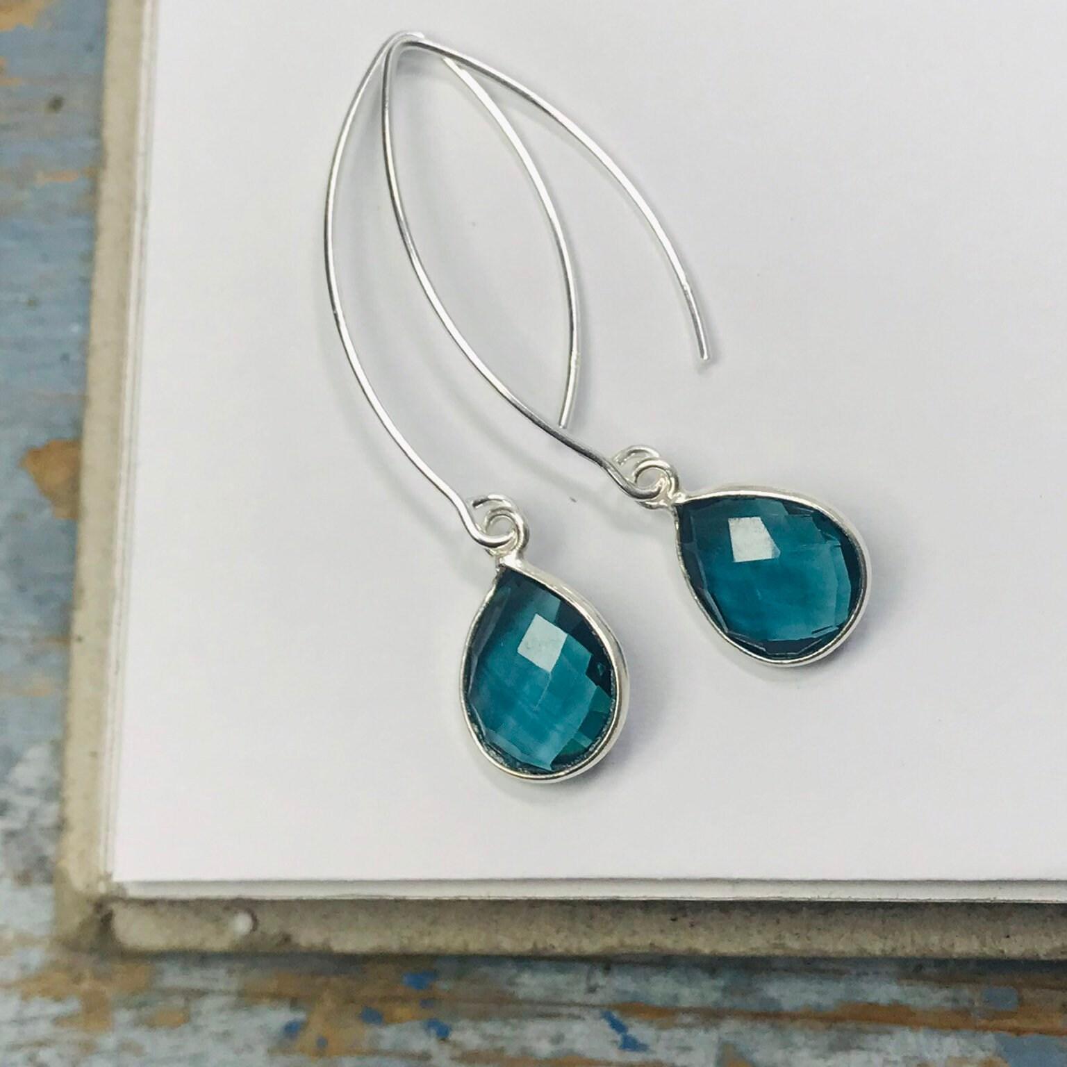 long drop gem earrings blue teardrop. Black Bedroom Furniture Sets. Home Design Ideas
