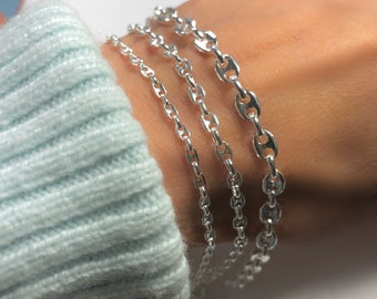 """Silver Gucci-style Chain Bracelet - solid 925 sterling - Hallmarked Italian-made Chain - gift for her & him - 6.5"""", 7"""", 7.5"""""""
