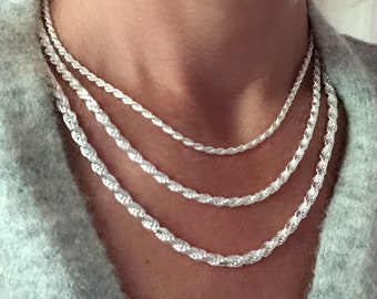 """Silver Rope Chain Necklace - diamond cut Italian-made - Solid 925 Sterling - 3, 4, 5mm Widths - 16""""-24"""" lengths"""