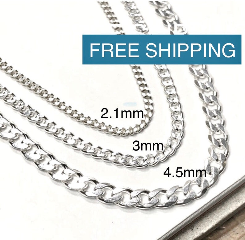 Solid 925 Sterling Curb Chain  Italian-made Necklace  Mens image 0