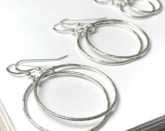 Silver Hammered Hoops - Circle Dangle Earrings - small, medium, large - lever-back earwire option - solid 925 sterling silver