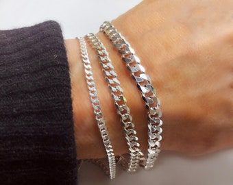 "Solid 925 Sterling Curb Chain Bracelet - Italian-made - Men Women Teen Jewelry - 3mm, 4.5mm, 5.8mm widths - 6"" - 8"" lengths"