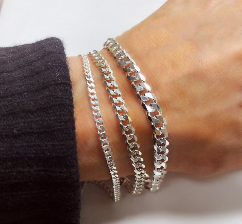 Solid 925 Sterling Curb Chain Bracelet  Italian-made  Men image 0