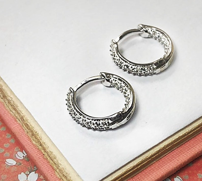 Silver CZ Huggie Hoops  micro pave setting  secure hinged image 0