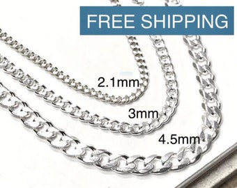 """Solid 925 Sterling Curb Chain - Italian-made Necklace - Men's Women's Silver Chain - 2mm, 3mm, 4.5mm Wide - 14"""" 16"""" 18"""" 20"""" 22"""" 24"""" 28"""" 30"""""""