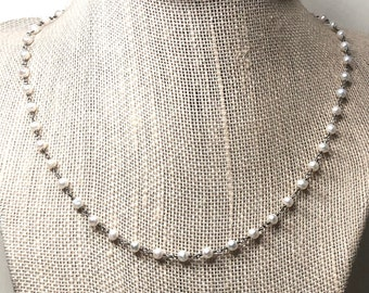 Pearl Necklace | white pearl chain | wire-wrapped rosary style | holiday gift for her | classic jewelry | 925 sterling silver