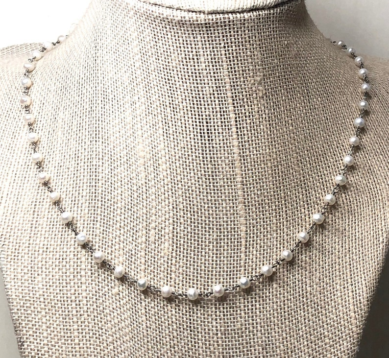 Silver Pearl Necklace  round white pearls wire-wrapped rosary image 0