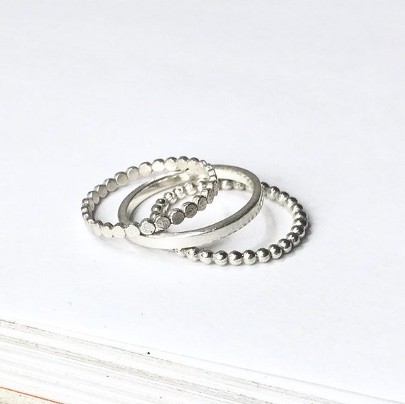 Sterling Silver Ball Bead Ring stackable plain Ring 925 soild silver 3mm size 8