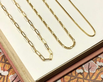 """Dainty Gold Layer Chain - Paperclip, Figaro, Box - Fine Quality 14K Gold-Filled Italian-made Necklace - 16"""", 18"""", 20"""" lengths"""