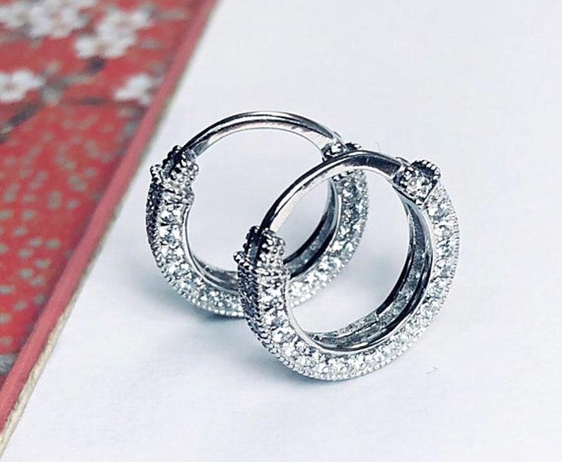 Silver Huggie Hoop Earrings  cubic zirconia micro pavé image 0