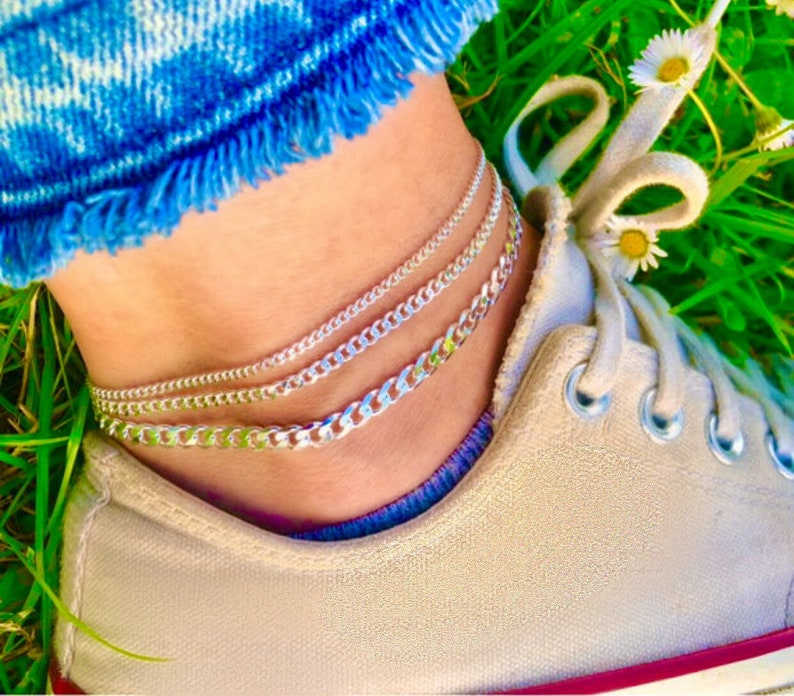 Silver Chain Anklet  9 optional 1 extender  925 sterling image 0