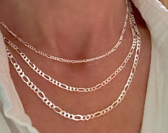 Silver Figaro Chain Necklace - women's layering chain - Hallmarked Made in Italy -  solid 925 sterling silver