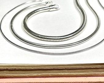 Silver Snake Chain Bracelet | flexible fluid fishbone chain | 925 sterling silver