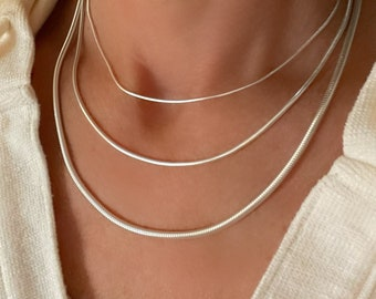 Silver Snake Chain | pendant layering necklace | flexible fluid chain | 925 sterling silver